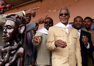 Annan at Viana compound eight miles north of Luanda, Angola.