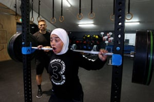 Weightlifter Liali Karra-Hassan during a training session with Steve Willis 'Commando' at Concord CPS Gym in Sydney
