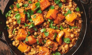 Yotam Ottolenghi's braised squash with chickpeas and harissa.