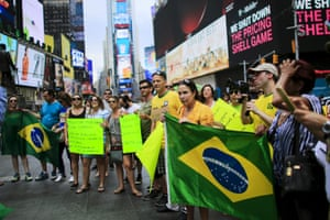 Protesters in Times Square, New York on Sunday