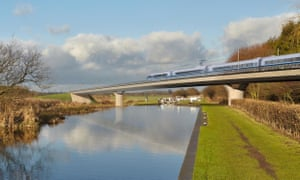 An artist's impression of an HS2 train on the Birmingham and Fazeley viaduct, part of the proposed route for the HS2 high-speed rail scheme