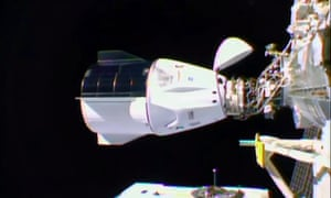 The SpaceX Crew Dragon anchored at the International Space Station