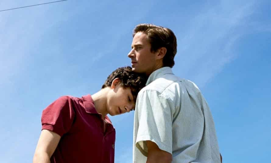 Hammer with Timothee Chalamet in Call Me By Your Name.