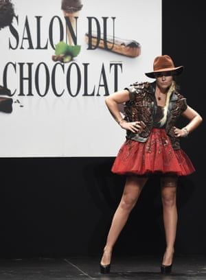 French singer Sophie Tapie models a chocolate dress