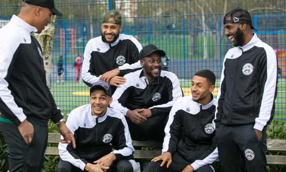 Left to right: Montserrat's Adrian Clifton, Dean Mason, James Comley, Sol Henry, Brandon Comley and Bradley Woods-Garness, pictured in north London.