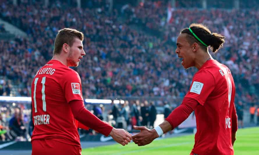RB Leipzig's Timo Werner, left, is congratulated by Yussuf Poulsen on his way to a brace in front of the hostile Hertha Berlin crowd.