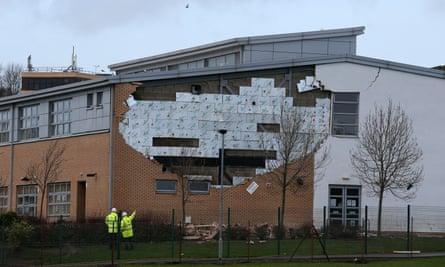 Oxgangs Primary School in Edinburgh, collapsed wall