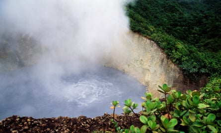 The Boiling Lake, a flooded volcanic fumarole in the Morne Trois Pitons national park, Dominica.