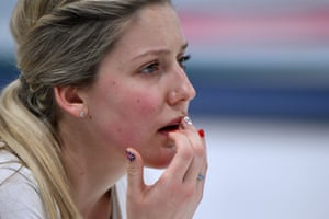 Britain's Lauren Gray looks on during the curling tie against China.