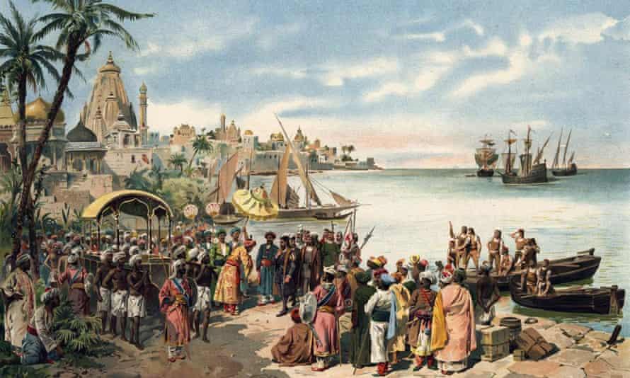 Vasco da Gama arrives in Calicut (Kozhikode) in 1498, painted by Alfredo Gameiro c1900.