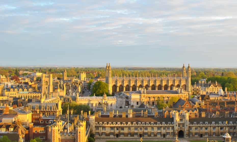 View of Cambridge's colleges from the tower at St John's College, Cambridge, UK