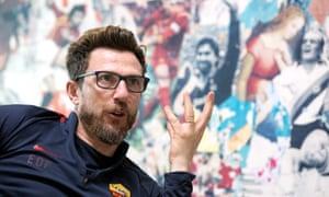 Roma's animated manager Eusebio Di Francesco explains his philosophy of the game at the club's Trigoria training ground.