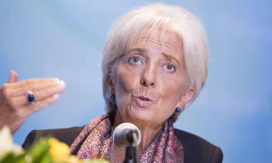 The IMF director, Christine Lagarde, has warned of slower global growth.