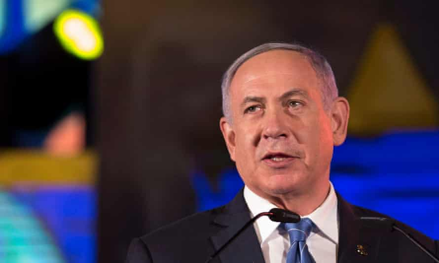 The Israeli prime minister Binyamin Netanyahu in Jerusalem on Sunday.