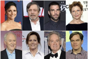 This combination photo shows actors, top row from left, Julia Louis-Dreyfus, Mark Hamill, Zachary Quinto, Annette Bening and bottom row from left, John Lithgow, Sigourney Weaver, Kevin Kline and Michael Shannon, who participated in The Investigation: A Search for the Truth in Ten Acts.