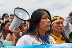 Amazonian women during the mobilisation for International Women's Day on 8 March 2020. One of the strongest demands of Amazonian women has to do with the sovereignty of their ancestral lands, which are constantly violated in favour of mining and oil companies, ignoring the rights of nature and the people who inhabit these territories.