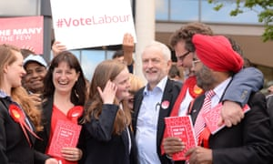 Jeremy Corbyn, third from right, campaigning in Telford, 2017.