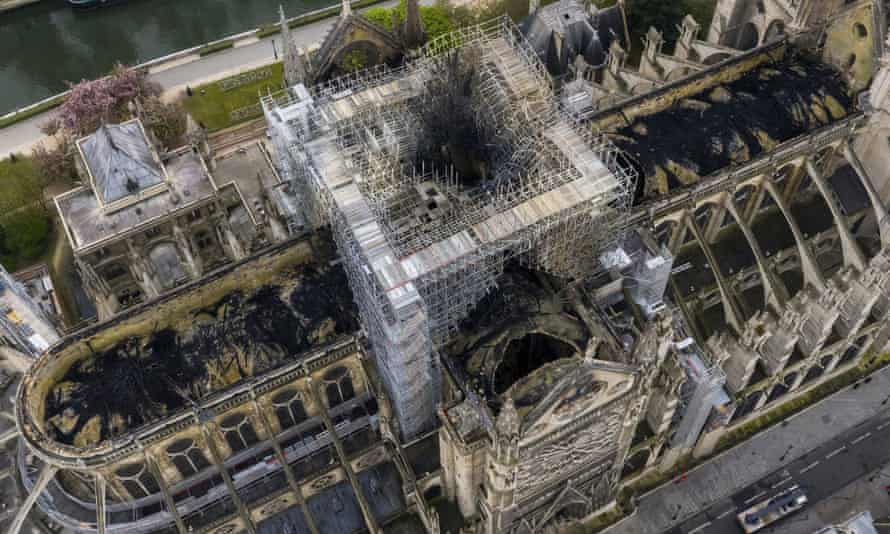 Aerial view of fire-damaged Notre Dame Cathedral