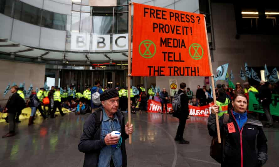 Extinction Rebellion activists protesting outside New Broadcasting House in London.