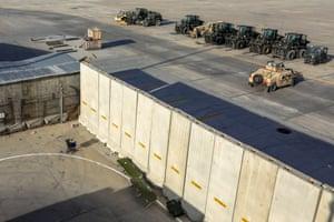 Forklifts parked inside the Bagram Air Base