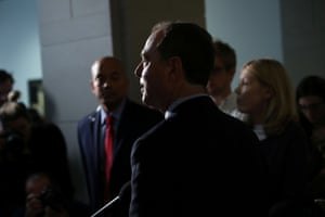 House intelligence committee chairman Adam Schiff speaks to reporters on Capitol Hill.