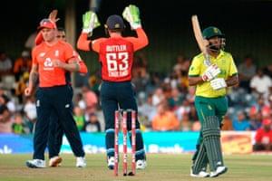 England celebrate as Bavuma (walks for 43.