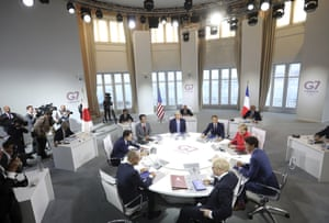 Biarritz, France: World leaders start a working session on the global economy and trade on the second day of the G7 summit