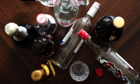 Empty booze bottles