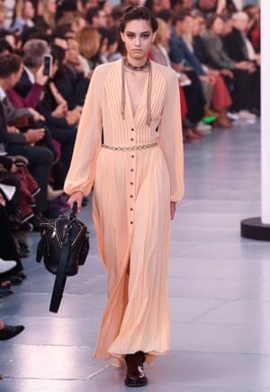 A metal chain belt at the Chloe show, SS20, Paris fashion week.