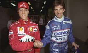Damon Hill with his rival Michael Schumacher