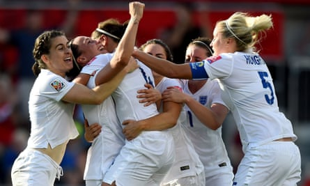 England players celebrate with Lucy Bronze after her goal against Norway in their last-16 clash during the World Cup in 2015.