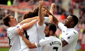 Fernando Llorente celebrates scoring Swansea's opening goal of the game against Sunderland.