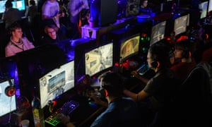 Participants play video games at the 2018 DreamHack video gaming festival in Leipzig in January.