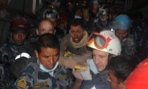 Rescue teams pull out Rishi Khanal from Nepal earthquake rubble