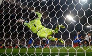 Hugo Lloris makes a deft save to deny Germany again.