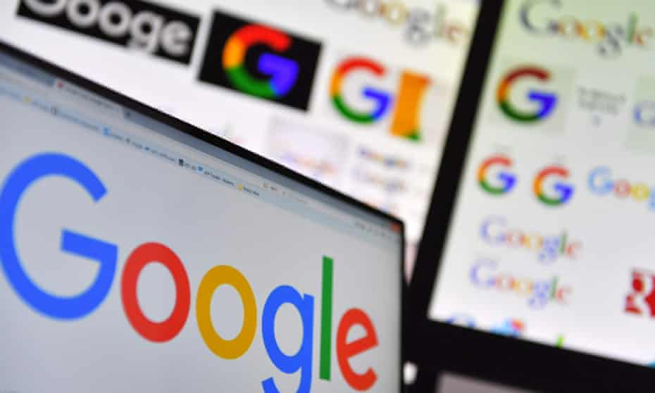 Google homepage and logos on computer screens