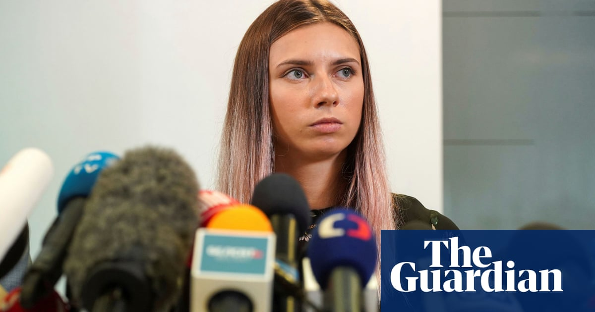 Belarus sprinter who fled to Poland tells compatriots 'not to be afraid'