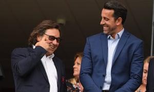 Arsenal's head of football Raul Sanllehi, left, with technical director Edu.