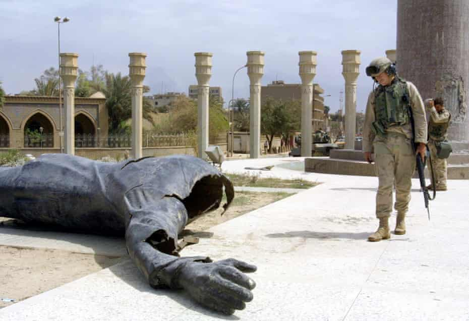 The toppled Saddam statue in Firdos Square, Baghdad on 10 April 2003.