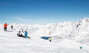 People skiing on 12 November, the opening day of the ski season, in the ski resort of Verbier, Switzerland.