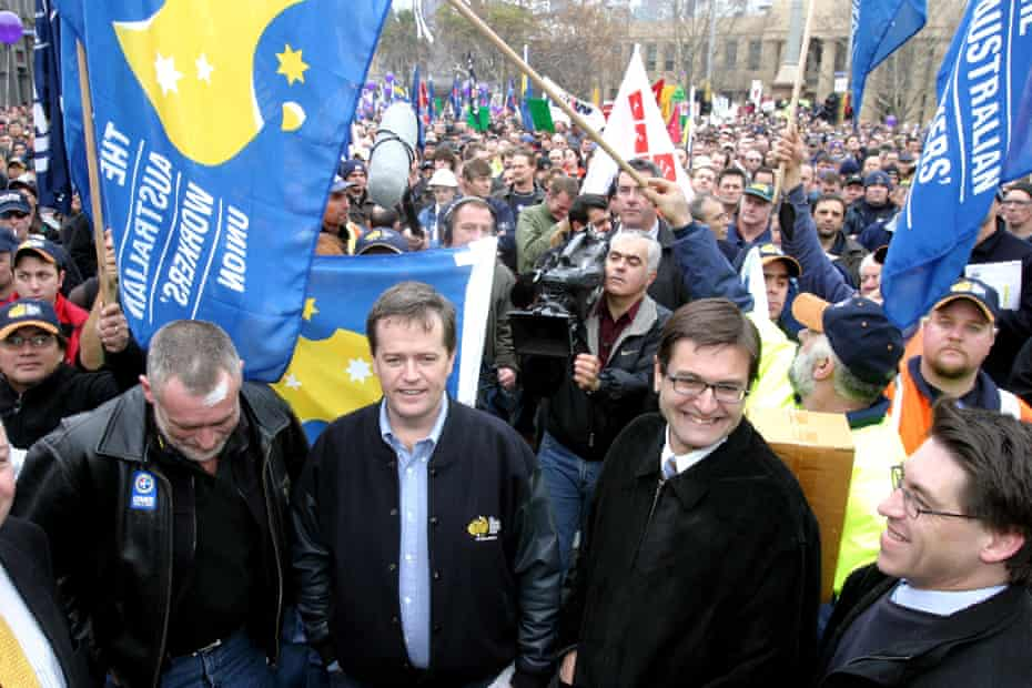 Bill Shorten at a rally in Melbourne in June 2005, protesting against John Howard's workplace law reforms. With him are Martin Kingham from the CFMEU and ally Greg Combet from the ACTU
