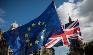 Protesters wave EU and British flags