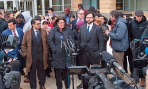 Attorneys for the ACLU, National Immigration Law Center and members of the International Refugee Assistance Project speak outside court on Wednesday.
