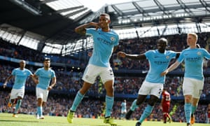 Gabriel Jesus (centre) celebrates after scoring Manchester City's second goal just before half-time.