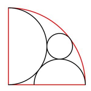 The red quarter circle has radius 6.