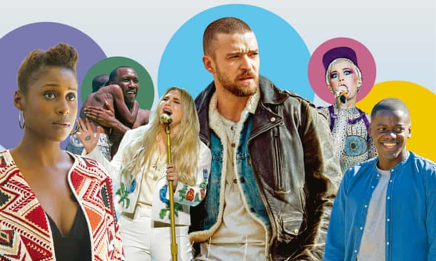 Issa Rae in Insecure; Mahershala Ali in Moonlight; Kesha; Justin Timberlake; Katy Perry and Daniel Kaluuya