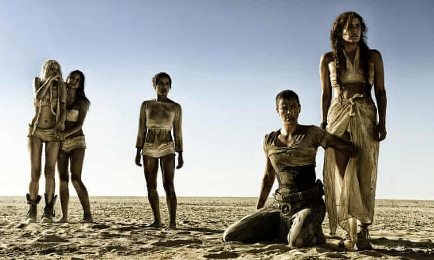 Abbey Lee as The Dag, Courtney Eaton as Cheedo the Fragile, Zoe Kravitz as Toast the Knowing, Charlize Theron as Imperator Furiosa and Riley Keough as Capable, in Mad Max: Fury Road.