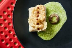 Mahi mahi fish in garden herb and bean stock crisp
