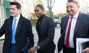 Caster Semenya flanked by her legal team at the hearing in Lausanne.