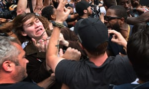 Anti-Trump protesters as clash with supporters of the Republican presidential candidate in San Diego, California. on 27 May 2016.